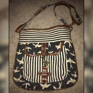 Blue & white denim bird purse